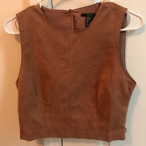 Cropped sleeveless top. caramel color very formal